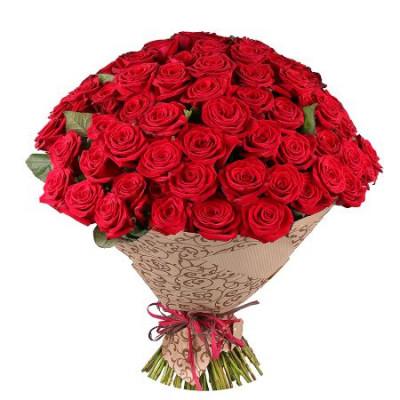 Букет из 75 красных роз в крафте 50 см