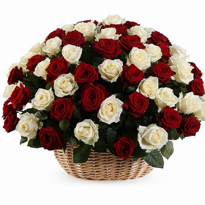 101 Белая и Красная розы в корзине