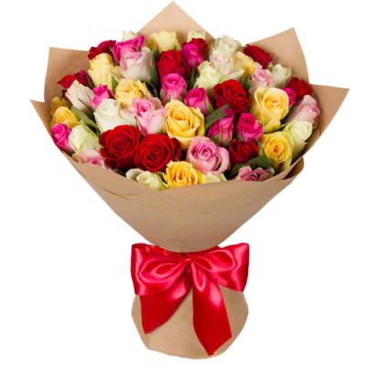 Кенийские розы микс 51 шт