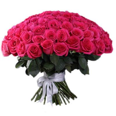 101 ярко-розовая роза 60 см