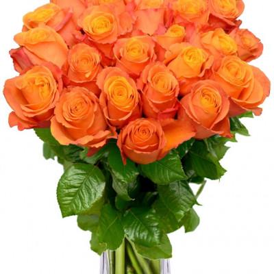 Букет из 21 оранжевой  розы 80 см