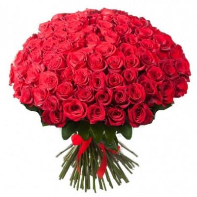 75 красных роз 90 см
