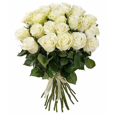 25 белых роз 40 см