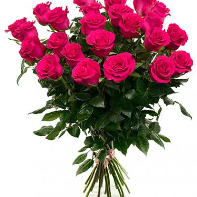 Букет из 25 ярко-розовых роз 60 см