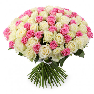 101 роза микс россия 60 см