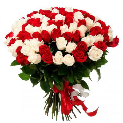 101 роза микс россия 70 см