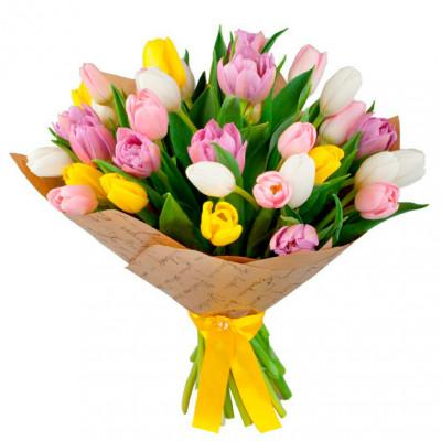 Тюльпаны Микс  в крафте 11 шт