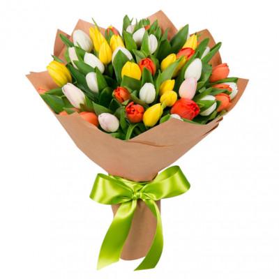 Тюльпаны Микс  в крафте 47 шт