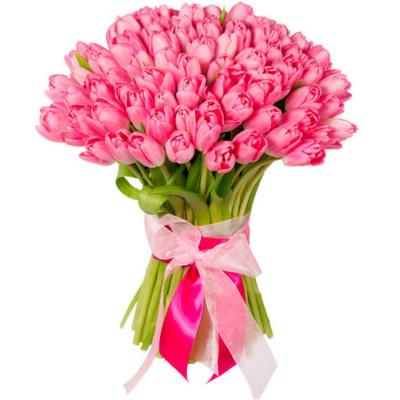 Тюльпаны Розовые 81 шт